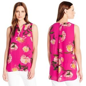 🆕 Adrianna Papell Hot Pink Floral Blouse